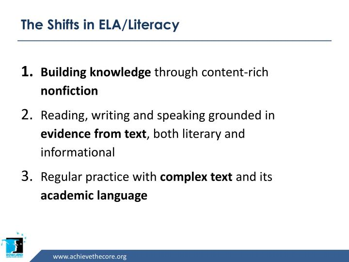 The Shifts in ELA/Literacy