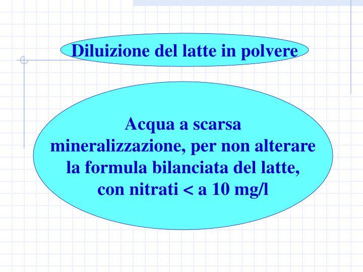 Diluizione del latte in polvere