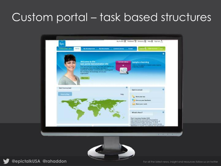 Custom portal – task based structures
