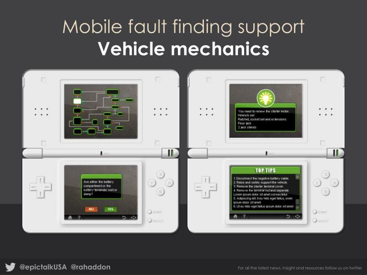 Mobile fault finding support