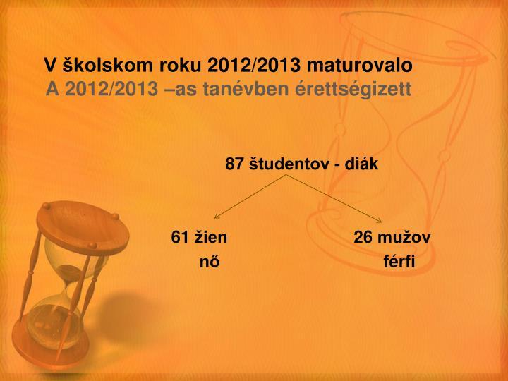 V školskom roku 2012/2013 maturovalo