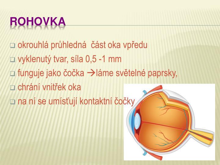 okrouhlá průhledná  část oka vpředu