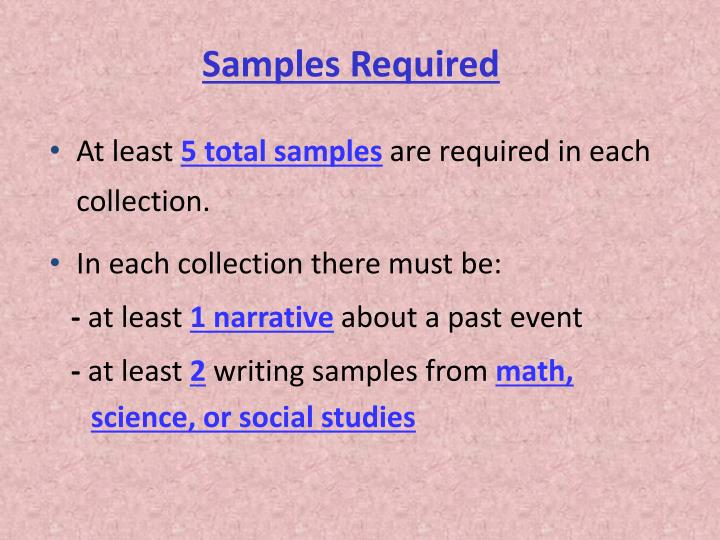 Samples Required