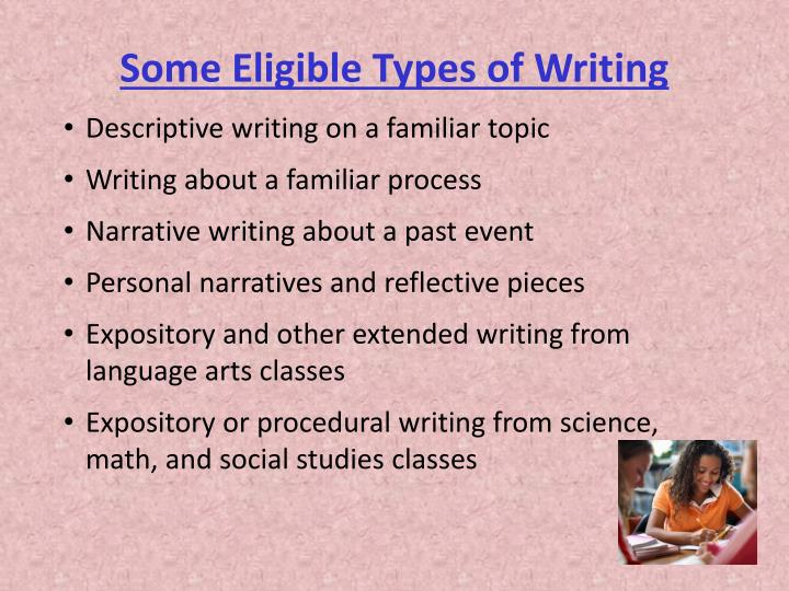 Some Eligible Types of Writing