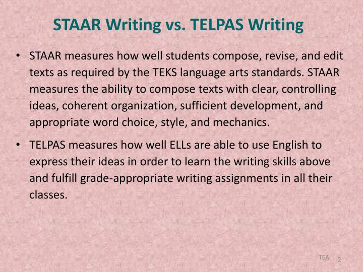 STAAR Writing vs. TELPAS Writing
