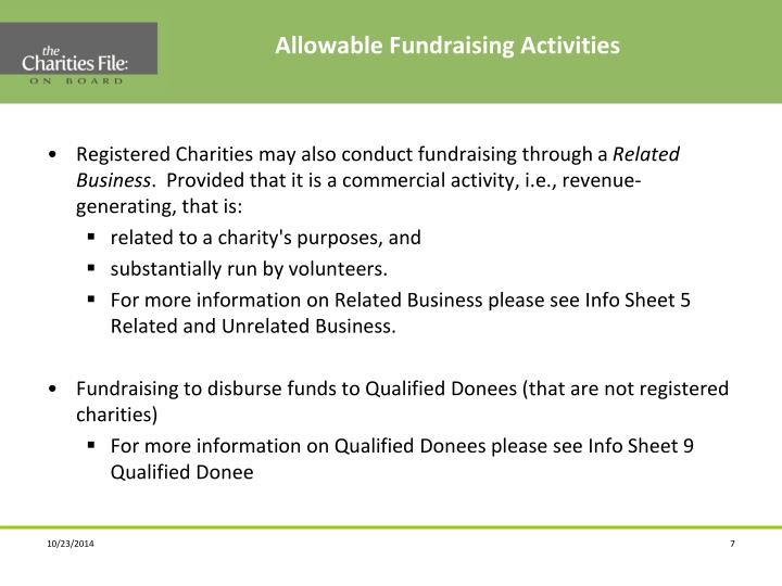Allowable Fundraising Activities