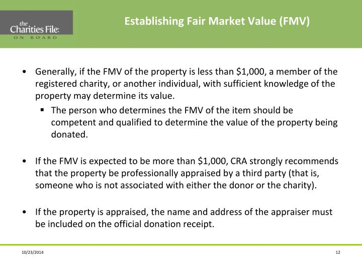 Establishing Fair Market Value (FMV)