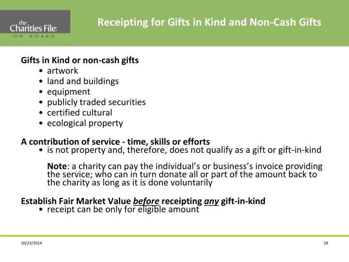 Receipting for Gifts in Kind and Non-Cash Gifts