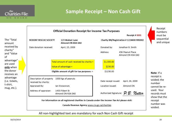 Sample Receipt – Non Cash Gift