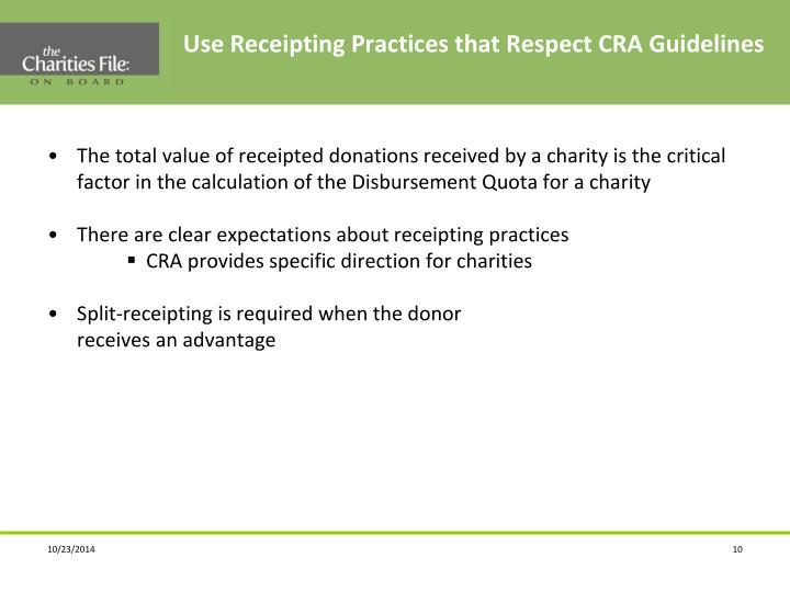 Use Receipting Practices that Respect CRA Guidelines