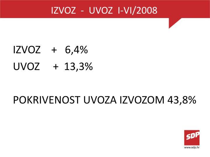IZVOZ  -  UVOZ  I-VI/2008