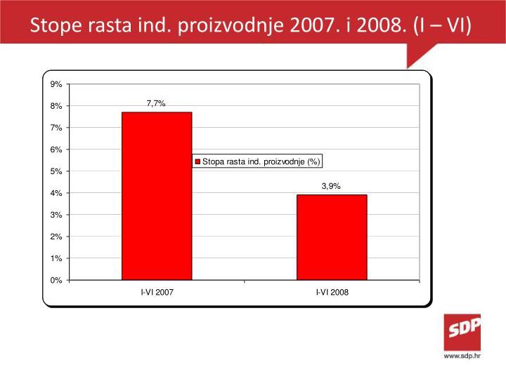 Stope rasta ind. proizvodnje 2007. i 2008. (I – VI)