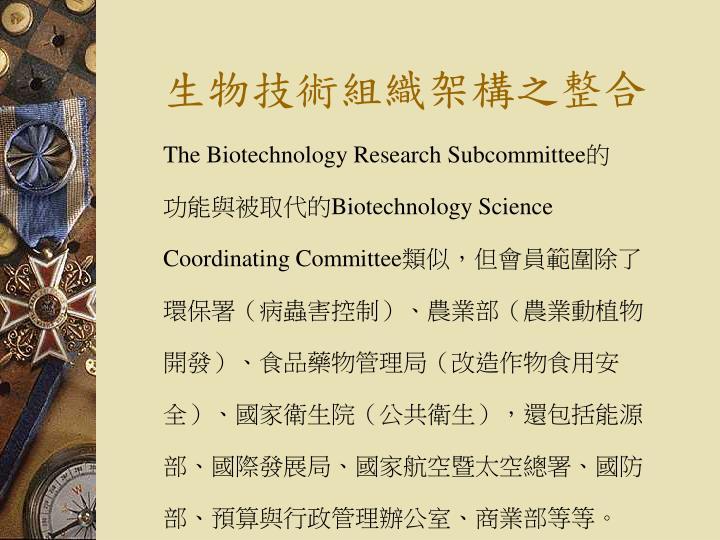 生物技術組織架構之整合