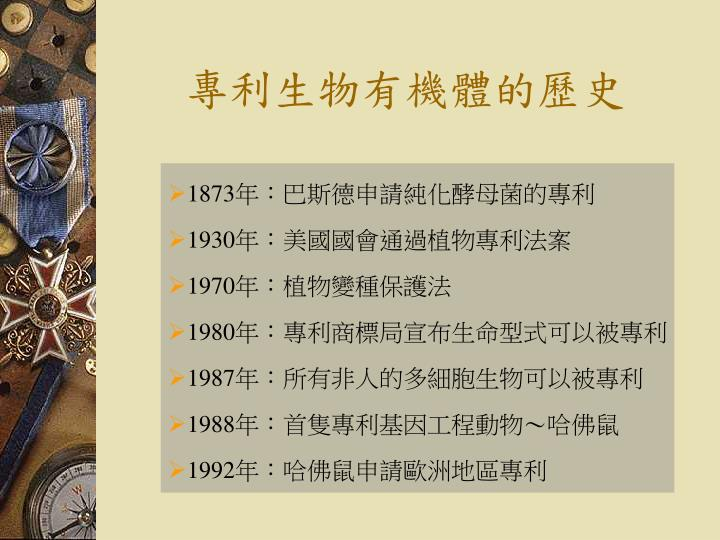 專利生物有機體的歷史