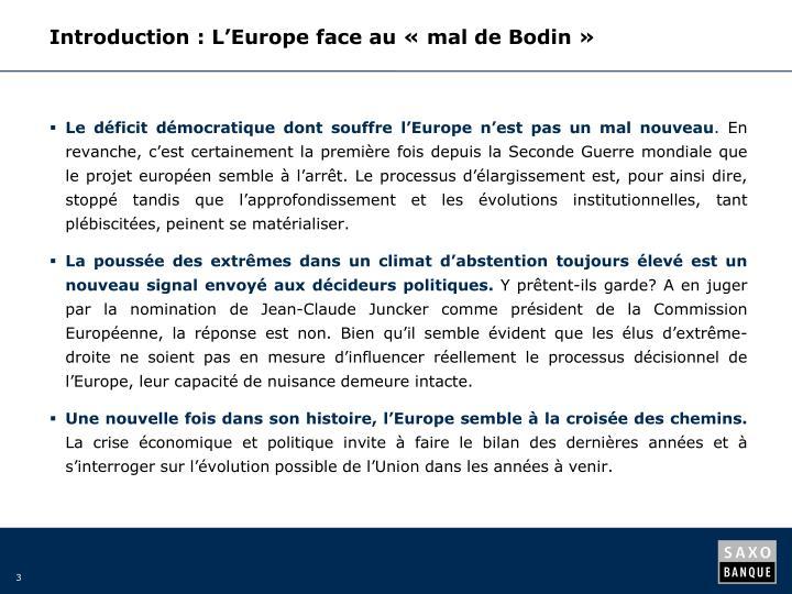 Introduction: L'Europe face au «mal de Bodin»