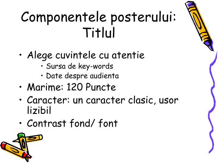 Componentele posterului: