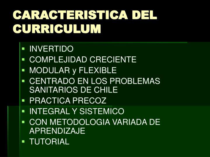 CARACTERISTICA DEL CURRICULUM
