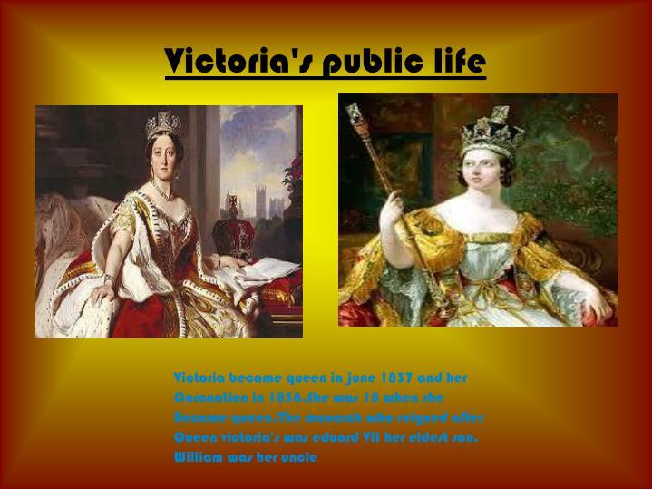 Victoria's public life