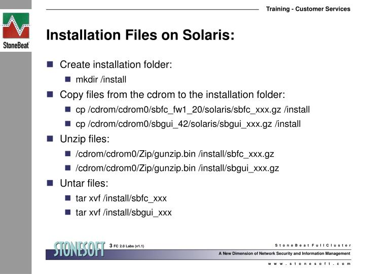 Installation files on solaris