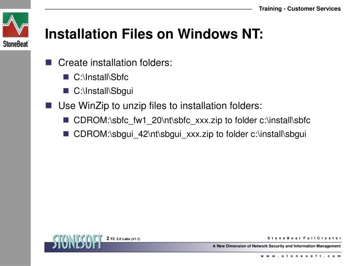 Installation files on windows nt