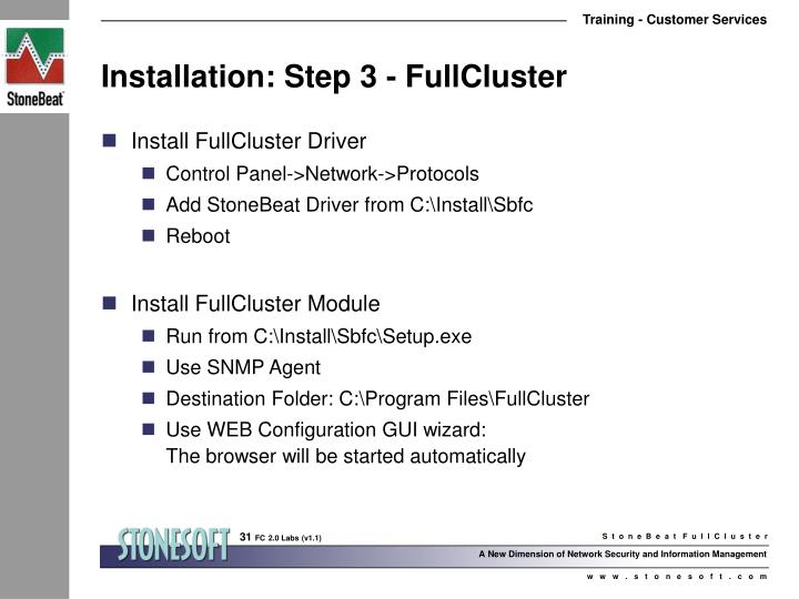 Installation: Step 3 - FullCluster