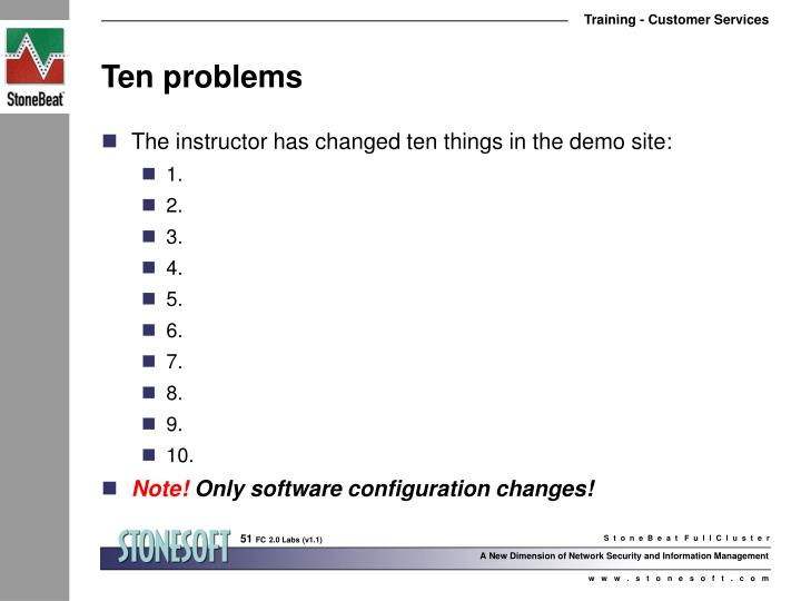 Ten problems