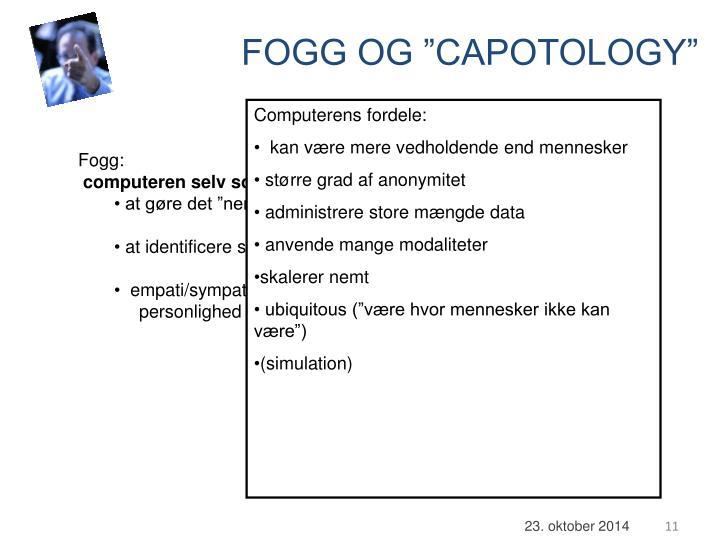 """FOGG OG """"CAPOTOLOGY"""""""