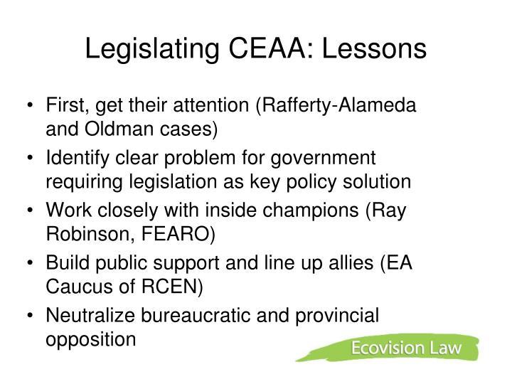 Legislating CEAA: Lessons