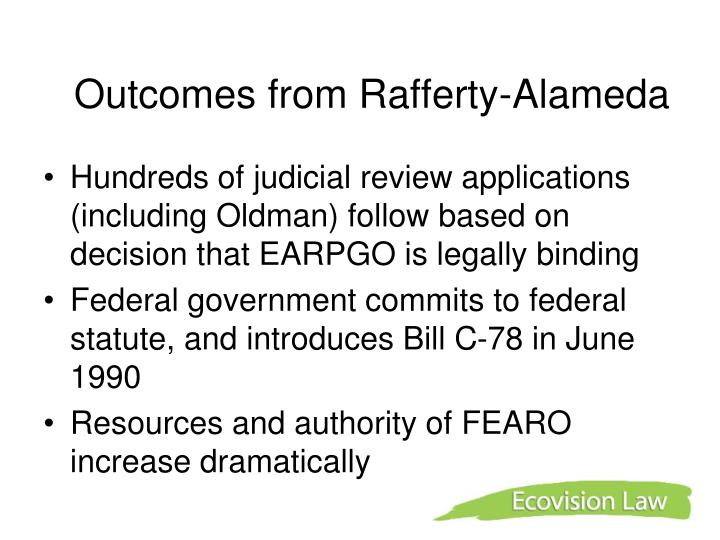 Outcomes from Rafferty-Alameda