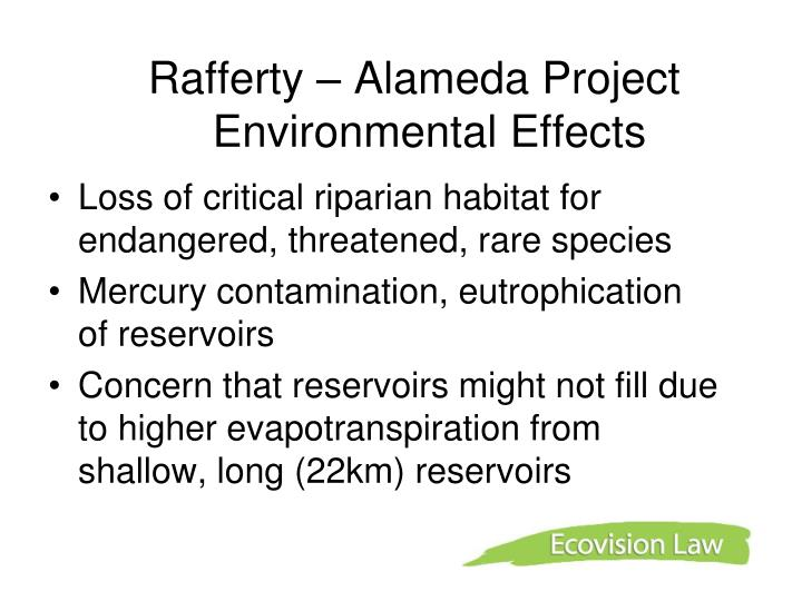 Rafferty – Alameda Project Environmental Effects