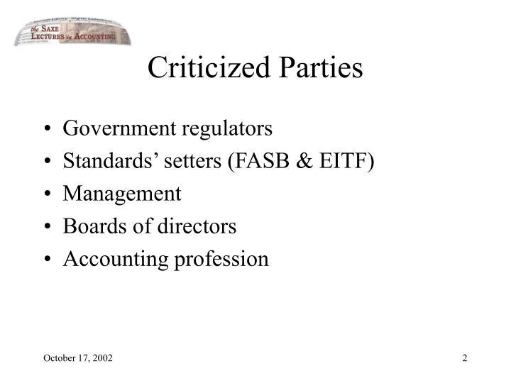 Criticized Parties
