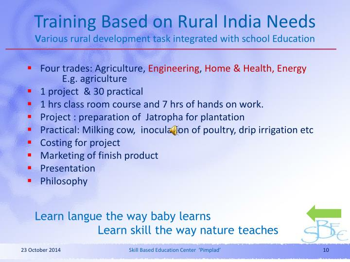 Training Based on Rural India Needs