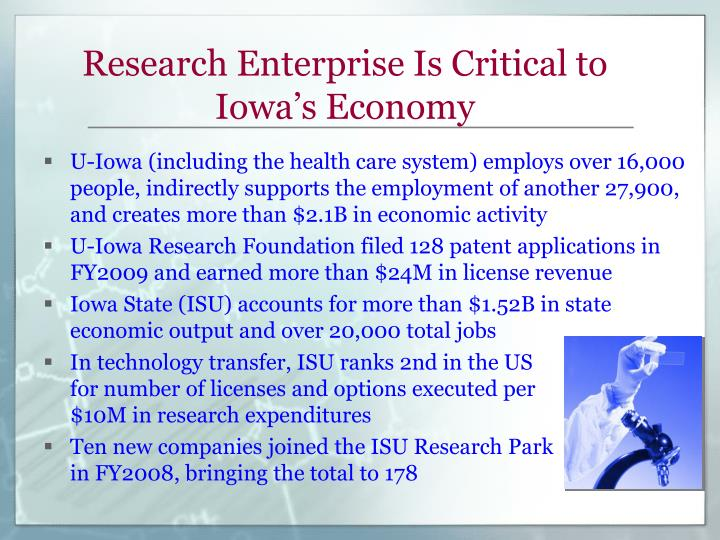 Research enterprise is critical to iowa s economy