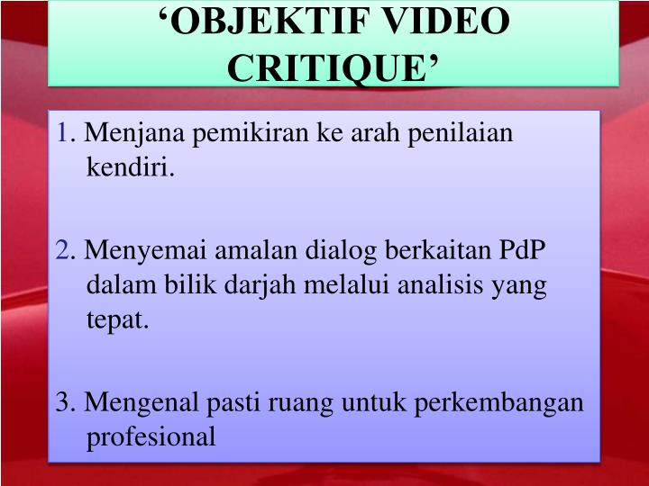 'OBJEKTIF VIDEO CRITIQUE'