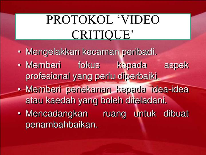 PROTOKOL 'VIDEO CRITIQUE'