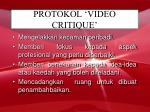 protokol video critique