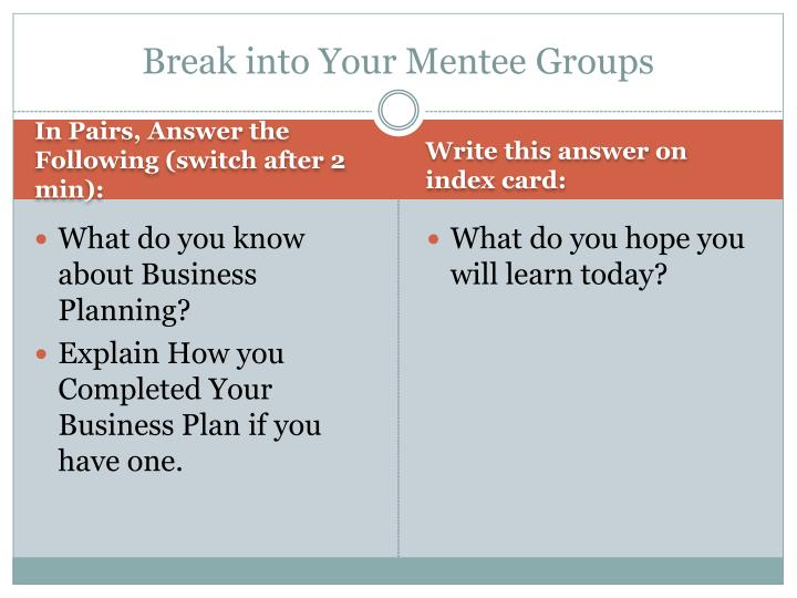 Break into Your Mentee Groups