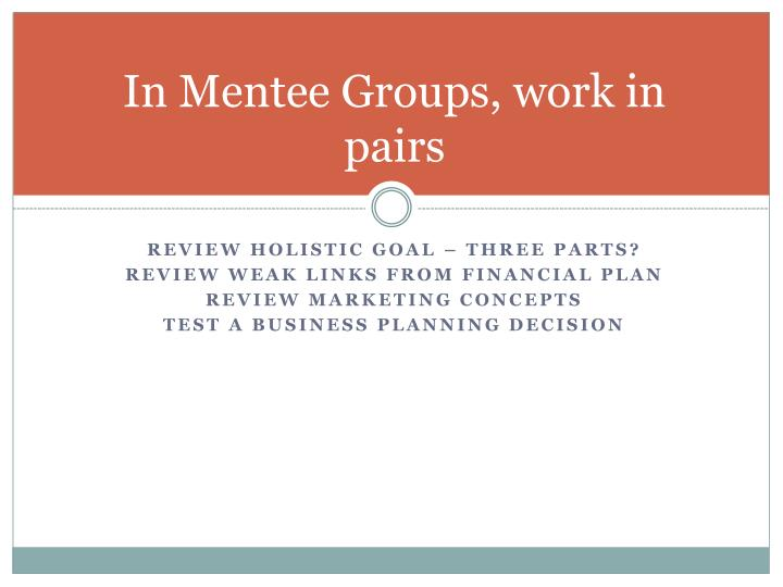 In Mentee Groups, work in pairs