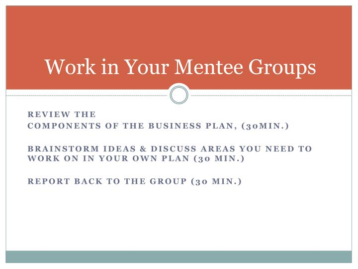 Work in Your Mentee Groups