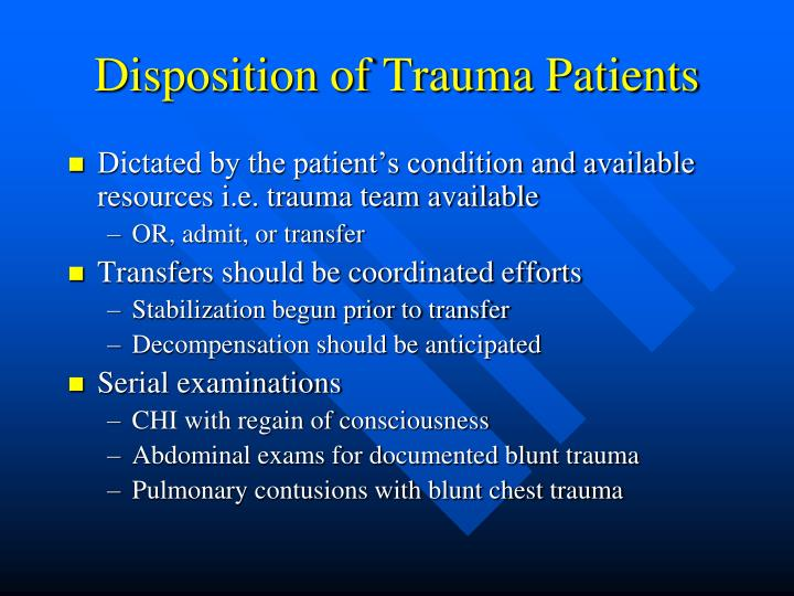 Disposition of Trauma Patients