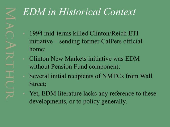 EDM in Historical Context