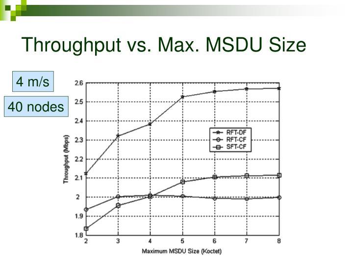 Throughput vs. Max. MSDU Size