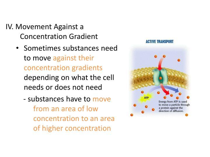 IV. Movement Against a Concentration Gradient