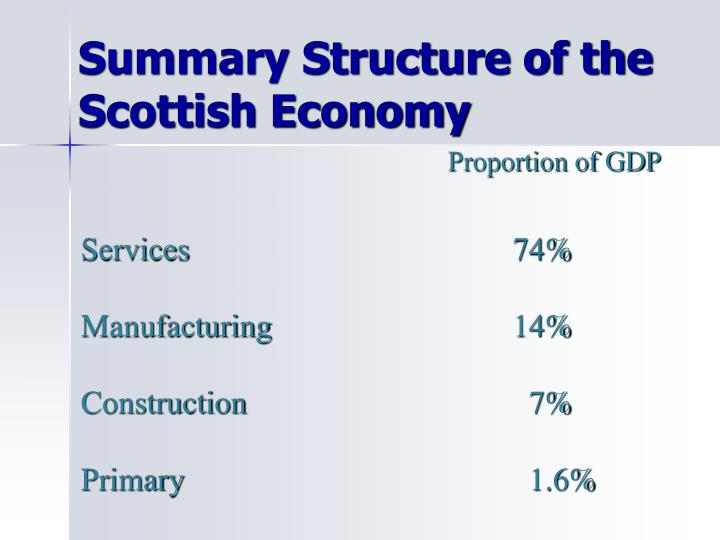 Summary Structure of the  Scottish Economy