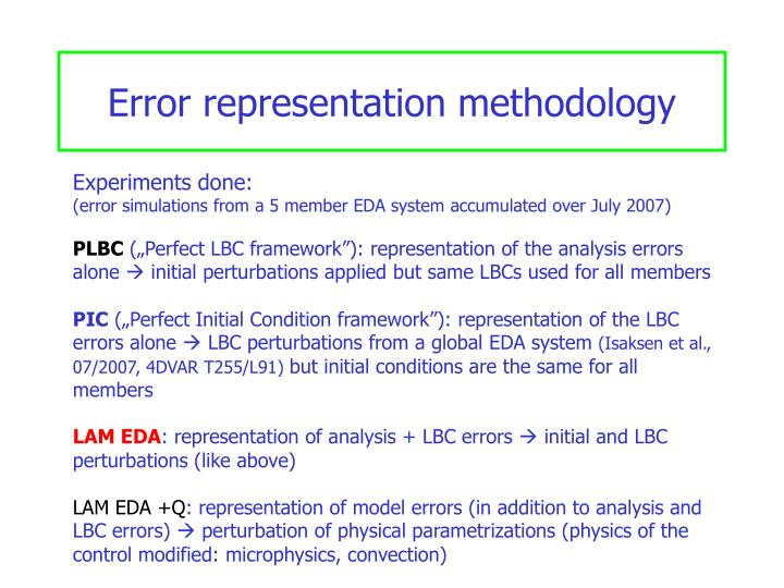 Error representation methodology