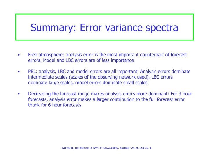 Summary: Error variance spectra