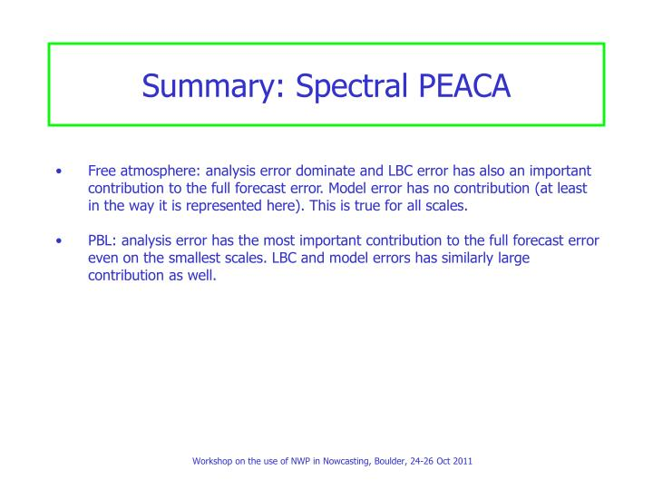 Summary: Spectral PEACA