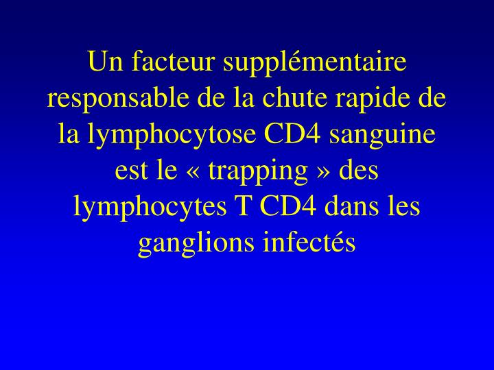 Un facteur supplmentaire responsable de la chute rapide de la lymphocytose CD4 sanguine est le trapping des lymphocytes T CD4 dans les ganglions infects