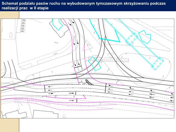 Schemat podziału pasów ruchu na wybudowanym tymczasowym skrzyżowaniu podczas realizacji prac  w II etapie