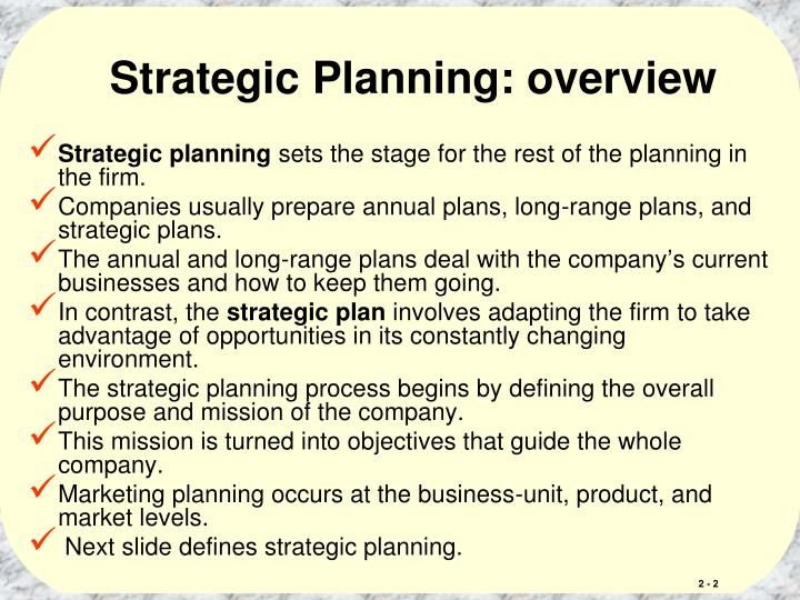 Strategic Planning: overview